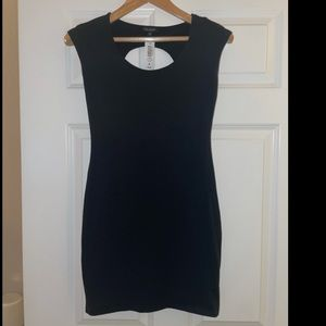 Black fitted open back dress